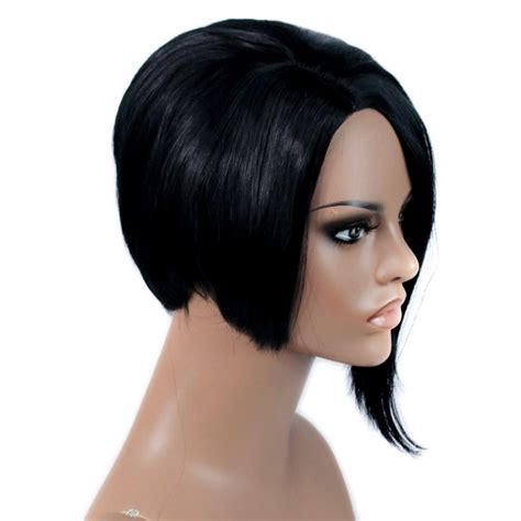jet black short hair wiwigs posh short wig asymmetric bob hair jet black