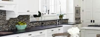 black granite white cabinet glass tile idea backsplash