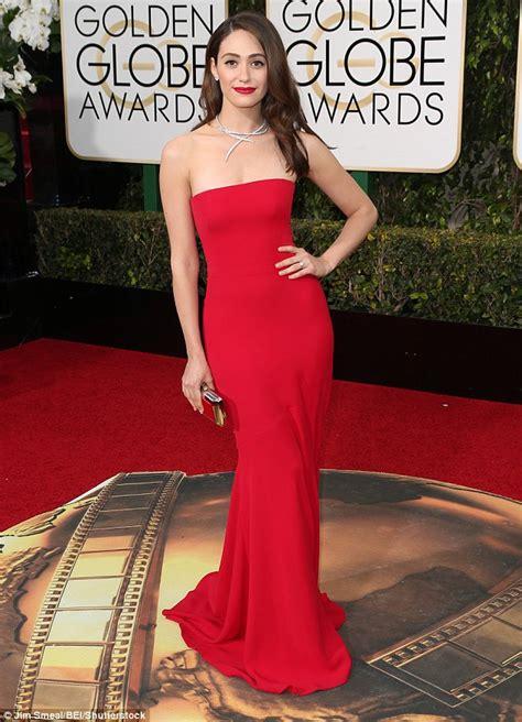 emmy rossum red dress emmy rossum at the golden globe awards 2016 with fianc 233