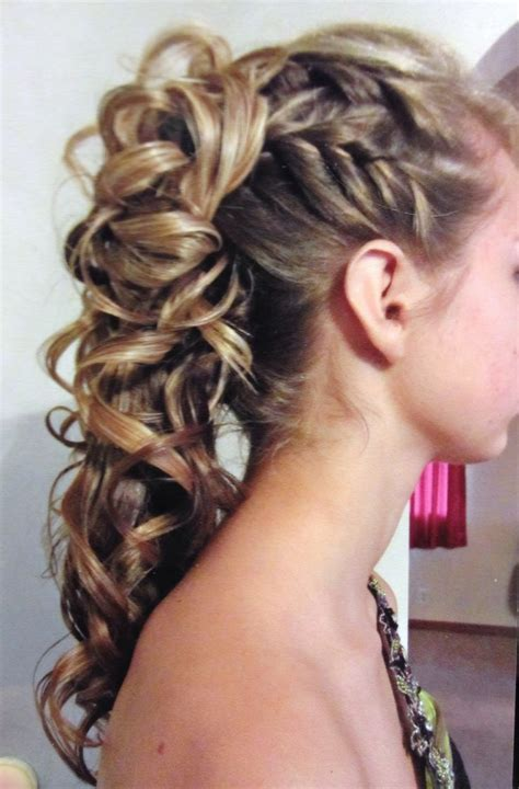 half up half down dance hairstyles french braids into high curly ponytail hairstyles for