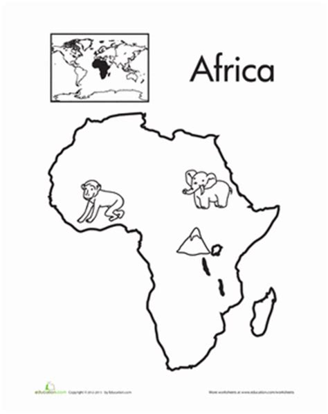 coloring page africa map color the continents africa worksheet education com