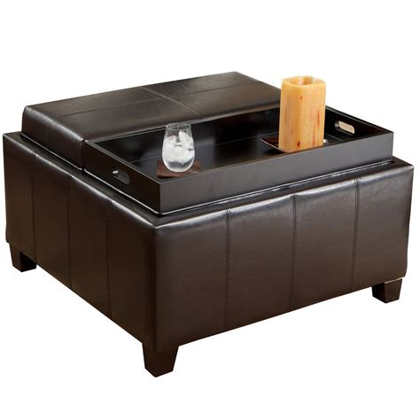 Small Black Leather Ottoman Coffe Table With Double Tray Leather Tray Top Storage Ottoman