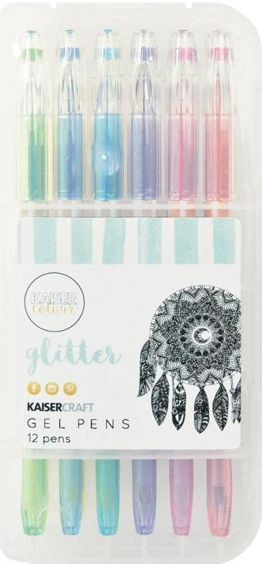 Set Of 12 Gel Pens kaisercraft gel pen box set of 12 glitter