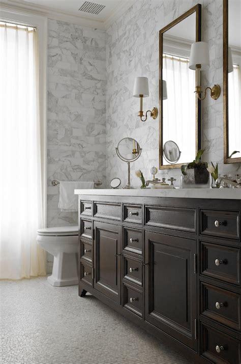 chocolate brown double vanity transitional bathroom