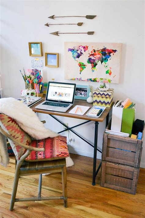 Apartment Desk Ideas Boho Decor Bohemian Decor Bohemian Apartment Home Office Desk Decor Workspace Organisation