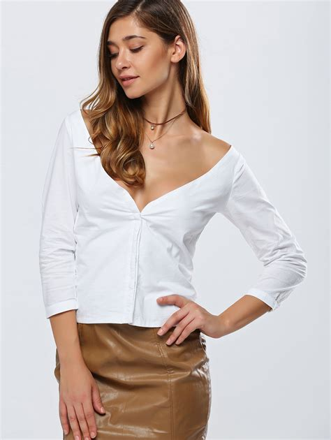 Low Cut Blouse At Work by A Low Cut Blouse Collar Blouses