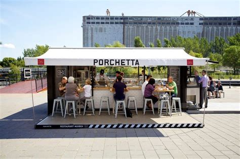design cafe outdoor minimalis porchetta shipping container kiosk by noiseux sasseville