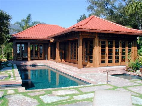 house plans with pool house guest house guest house office asian pool santa barbara by