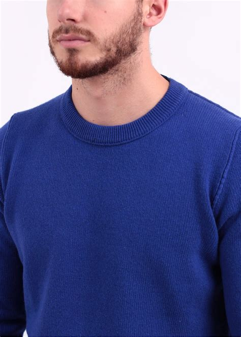 Conventional Knit Cardigan island knit crew sweater royal blue