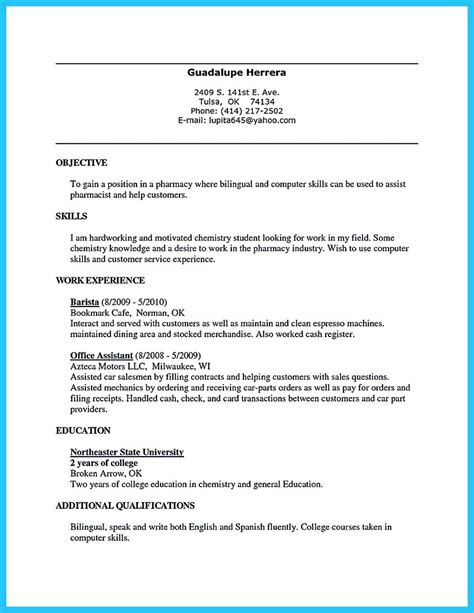 Resume Objective Exles Barista 30 Sophisticated Barista Resume Sle That Leads To