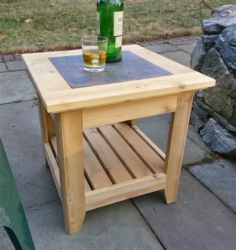 Handmade Patio Table - handmade cedar patio side table with a tile inlay