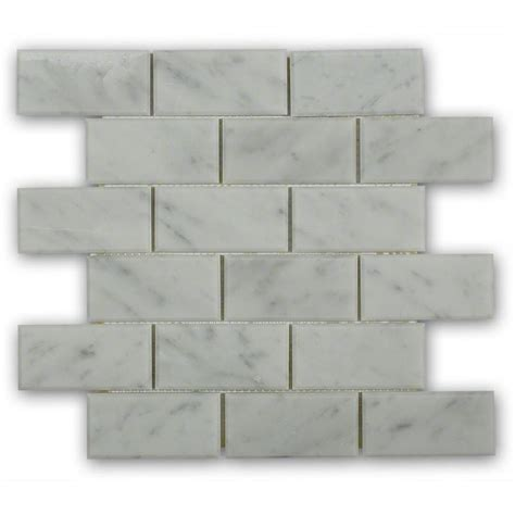 splashback tile beveled white carrera 12 in x 12 in x 8 mm marble mosaic floor and wall tile