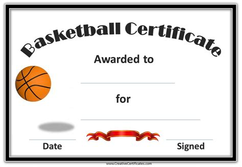 free printable basketball award certificate template