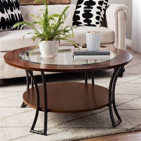 Livingroom Set Up Round Coffee Table Shelf Wood Glass Living Room Walnut