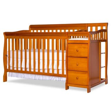 Pecan Crib by On Me Brody 4 In 1 Convertible Crib With Changer In