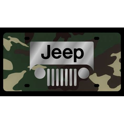 jeep green logo personalized jeep grill logo green camo license plate by