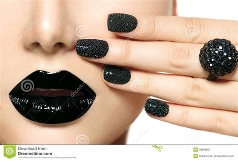 Lip Manicure black caviar manicure stock image image of