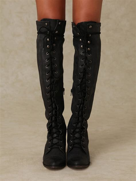 vintage black lace up knee high boots sexyshoeswoman