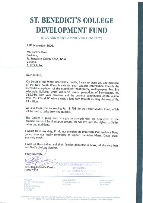 Fundraising Letter For Building Project Sydney Oldbens Members