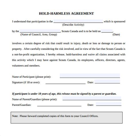 simple hold harmless agreement template business