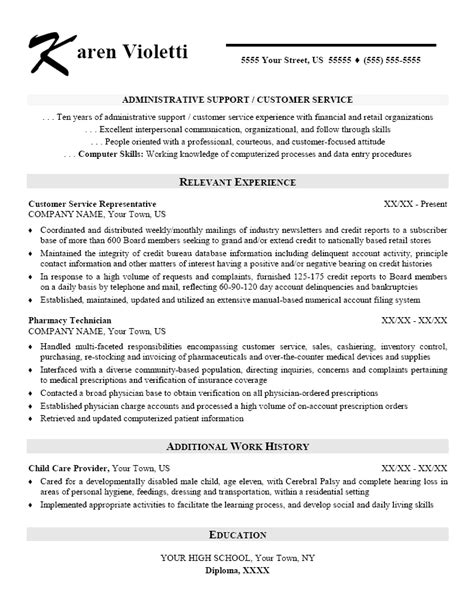 resume format for customer support executive sle administrative support customer service resume exles administrative assistant office