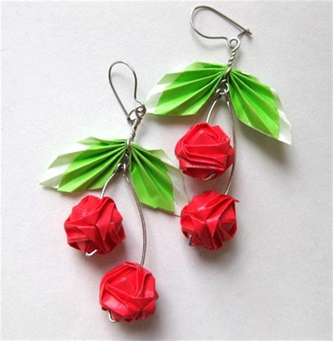 Origami Cherry - origami cherry earrings by pandacub143 on deviantart