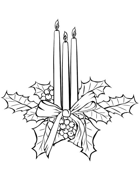 Coloring Page Christmas Candles Tree With Candles Coloring Page