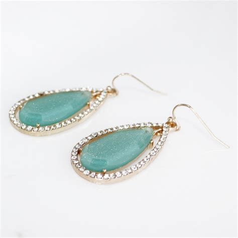 turquoise opal earrings opal mint turquoise teardrop statement boho earrings