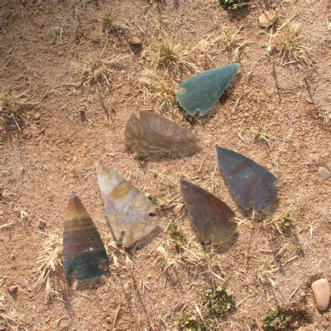 Handmade Arrowheads - handcrafted contemporary 2 quot agate jasper
