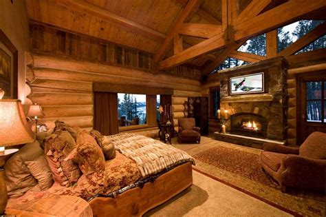 Cabin Bedrooms | awesome log cabin bedroom dream home pinterest