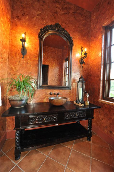 Antique Powder Room Vanity by Powder Room Venetian Plaster And Antique Vanity