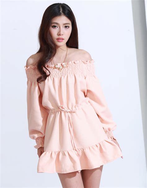 Dress Korean Midi Dress Fashion Korea 1 kodz womens pastel shoulder dress japanese korean fashion ebay