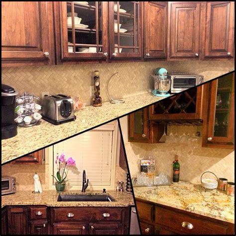 herringbone backsplash travertine cabinets granite