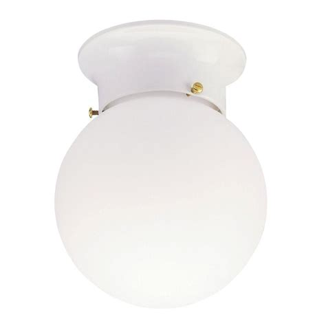 Globe Ceiling Lights Westinghouse 1 Light Ceiling Fixture White Interior Flush Mount With White Glass Globe 6660700