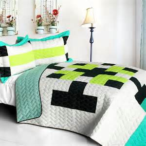 navy blue lime green pixel world teen boy bedding full queen quilt set modern geometric bedspread