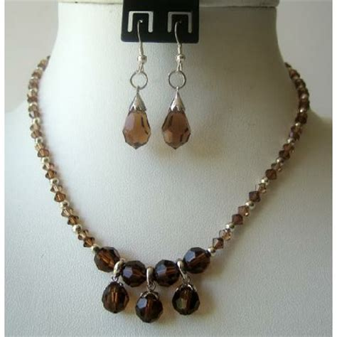 Custom Handcrafted Jewelry - smoked topaz crystals teardrop necklace set wedding jewelry