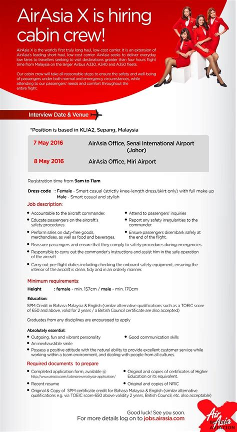 airasia malaysia career airasia x cabin crew walk in interview miri may 2016