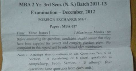 Foreign Exchange Management Mba Notes Pdf by Question Paper Foreign Exchange Management
