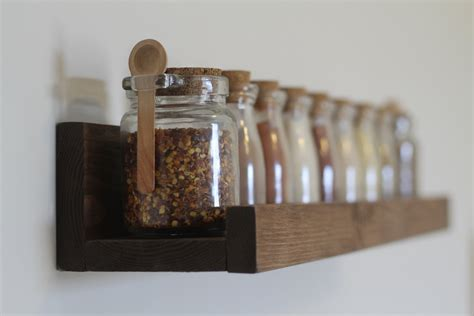 rustic wooden spice rack ledge shelf ledge by