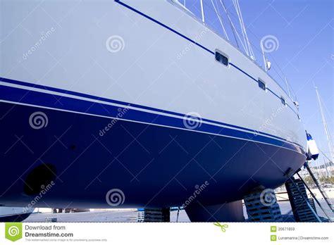 boat hull sailboat blue antifouling beached royalty free