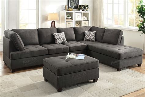 Sectional Sofa Outlet Poundex F6988 Black Fabric Sectional Sofa A Sofa Furniture Outlet Los Angeles Ca