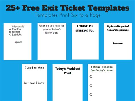 exit card template math free exit ticket templates