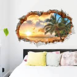 Beach Wall Stickers 3d elegant beach wall sticker decal art decor vinyl home