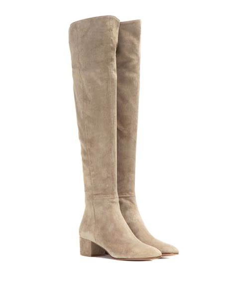 gianvito rolling suede knee high boots in beige lyst