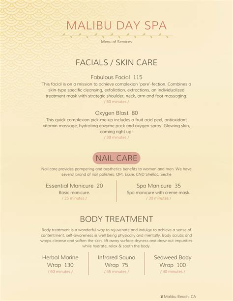Day Spa Menu Template Spa Menu Templates And Designs From Imenupro
