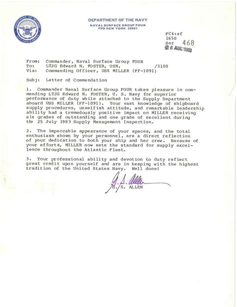 Employee Letter Of Commendation Sle Accolades Edward N Foster Richmond Va