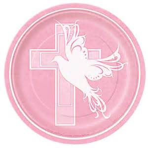 Dove cross pink baby girl christening baptism or communion 7 quot plates