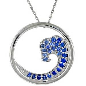 Graduated sapphire wave necklace in 14kt white gold
