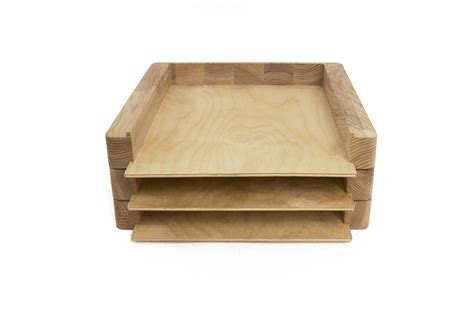desk paper tray paper tray 2 stages desk organizer wood paper sorter