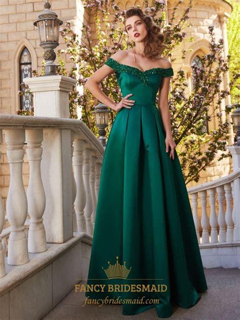 emerald green   shoulder satin   floor length